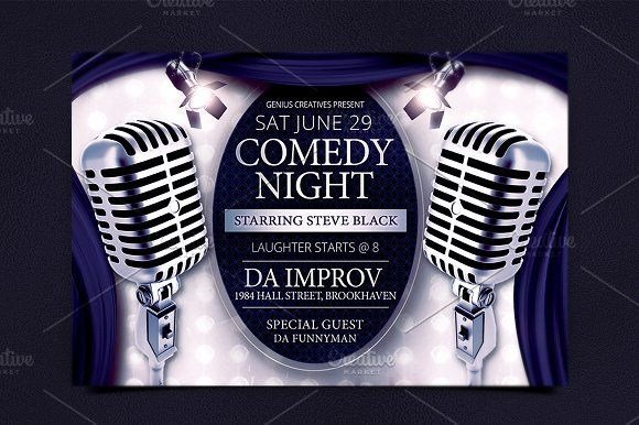 Comedy Night Show Flyer Template Creativework  Flyer