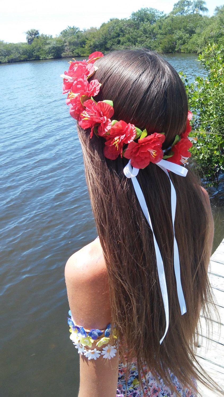 Red Hibiscus Flower Headband Hula Hawaiian Lei Luau Coachella