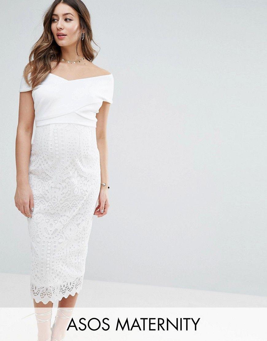 Maternity Lace & Scuba Bardot Cross Front Midi Dress | Pinterest ...
