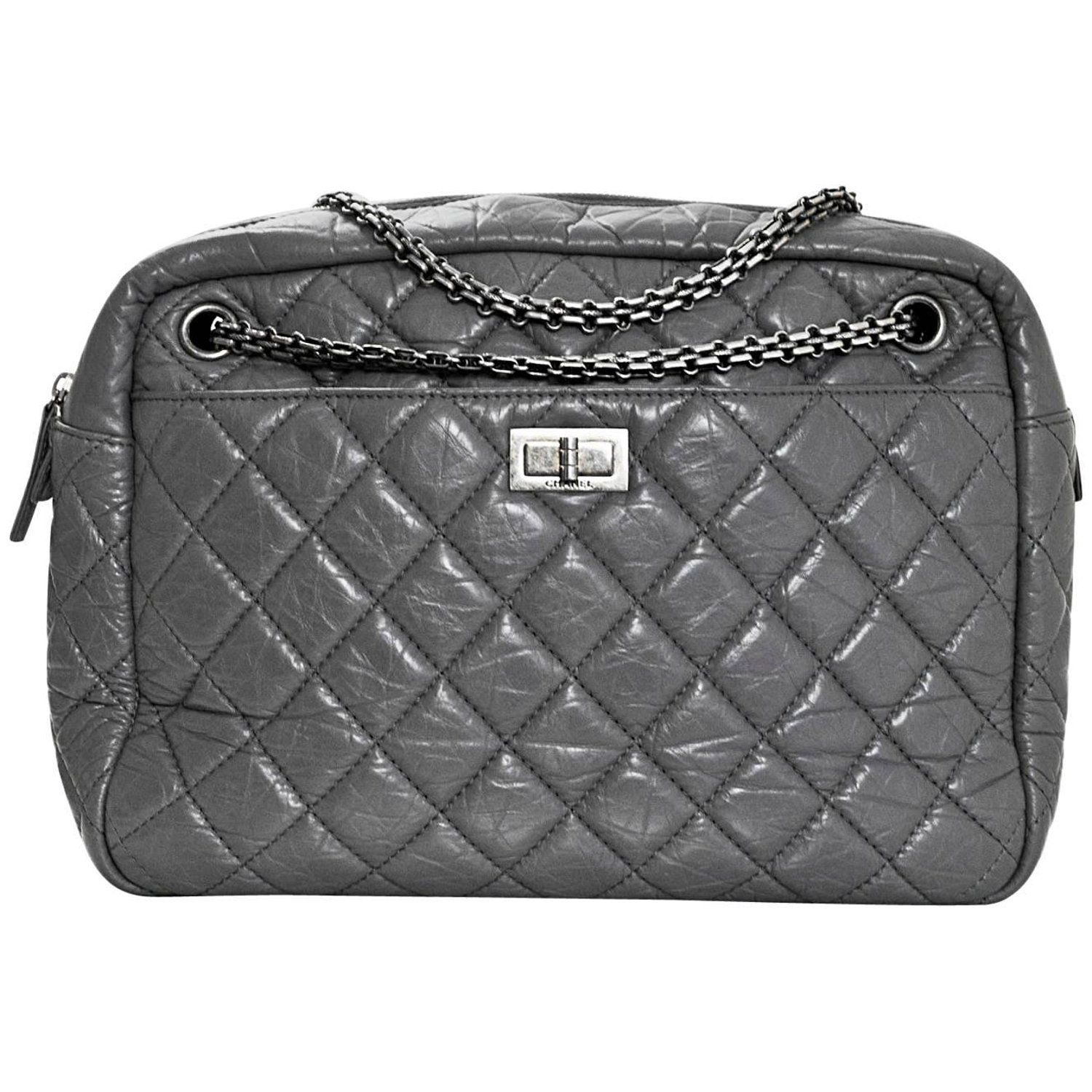 30292e8f07c793 Chanel Grey Quilted Aged Calfskin Leather Large Reissue 2.55 Camera Case Bag