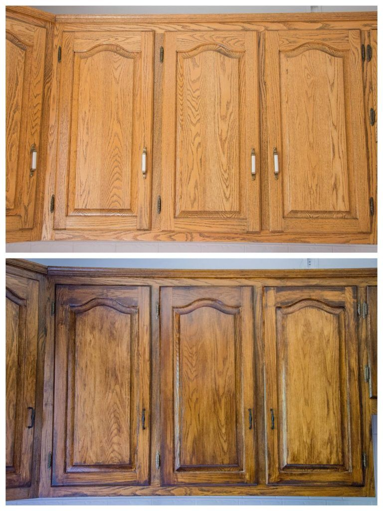 DIY Staining Oak Cabinets – Eclectic Spark