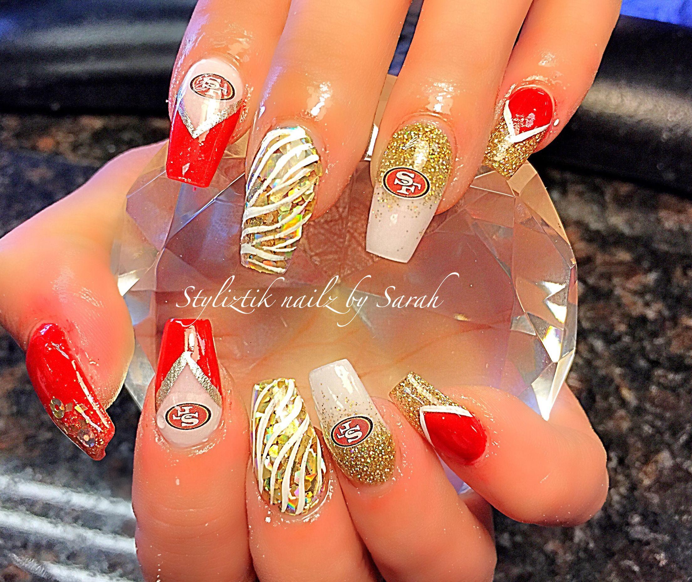 49ers Nails San Francisco Nails 49ers Nails Football Nails Hair And Nails
