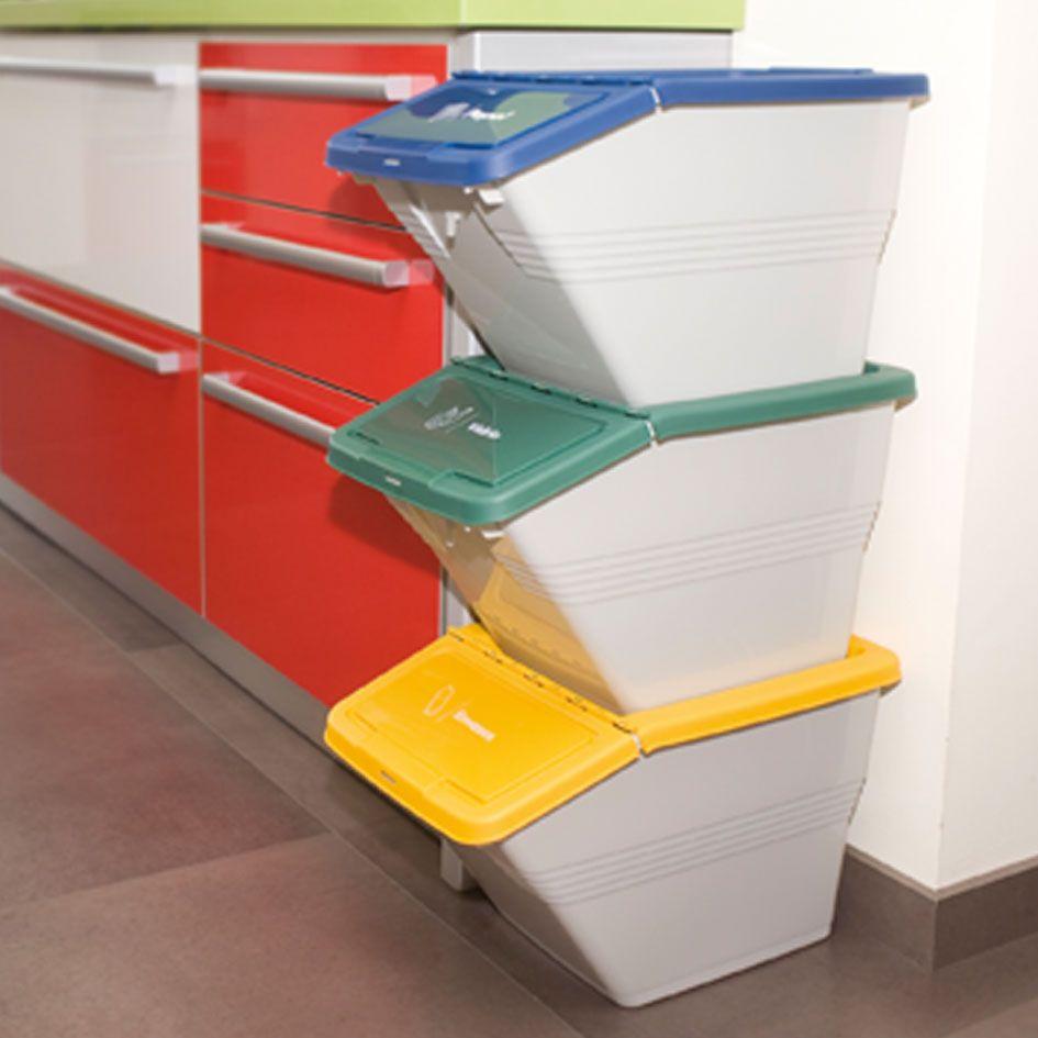 Cubo reciclaje apilables eco box cubos basura for Cubos de reciclaje ikea
