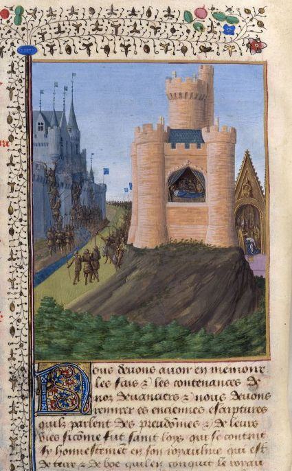 Jean Fouquet, Siege of Avignon, Death of Louis VIII, Coronation of Louis IX, from the Grandes Chroniques de France, c.1455-60 (source).