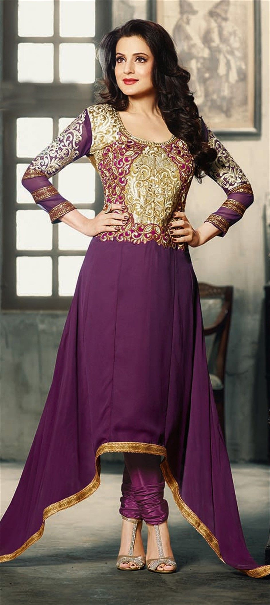 419089 Purple And Violet Color Family Unstitched Bollywood Salwar Kameez
