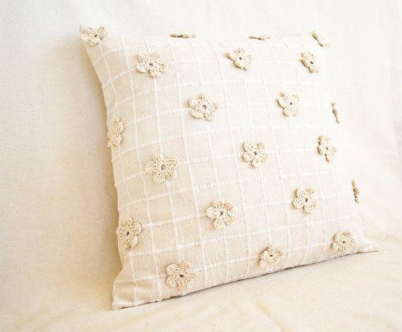 crochet: Natural Cream  Pillow Covers + crochet flowers