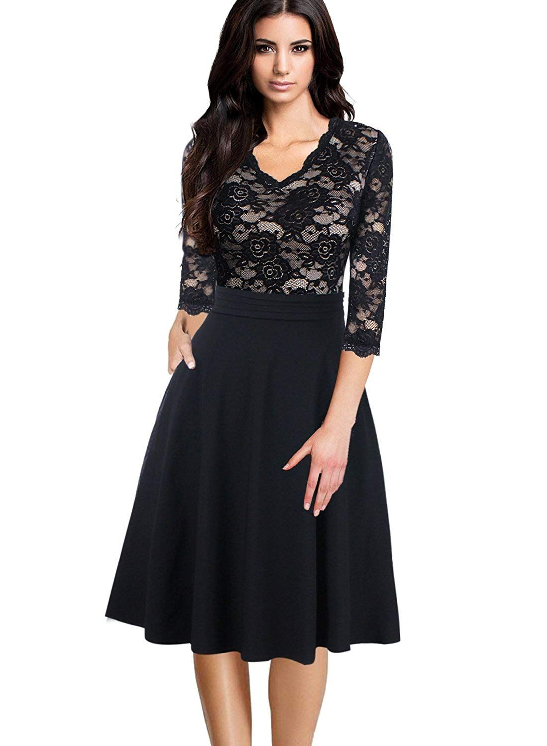 2b6ffe3c4b38 VFSHOW Women V Neck Floral Lace Patchwork Pocket Cocktail Party A-Line Dress...  More information can be located at the image url.