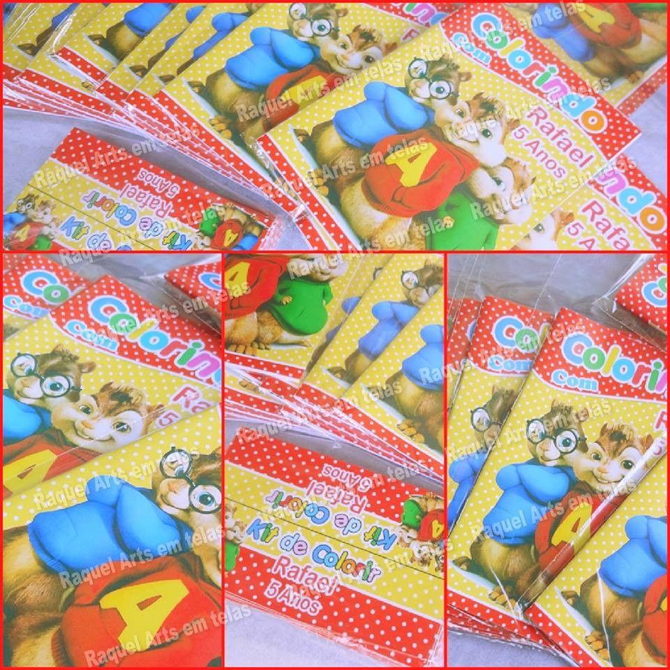 Mini Revistinha Para Colorir Alvin E Os Esquilos 15 Cm X 10 Cm Com