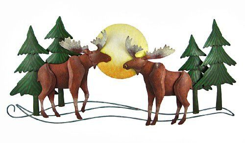Beautiful 3D Metal Moose Wall Hanging Forest Scene by Things2Die4. $29.99. Hand Painted. Made of Metal. 15 Inches Tall. This wonderful hand painted double moose wall hanging is a great addition to cabins, country homes or any room. Measuring 15 inches tall, 31 1/2 inches across and 2 inches deep, it hangs on your wall with a pair of screws or nails. It has a wonderful distressed finish to give it an aged look.
