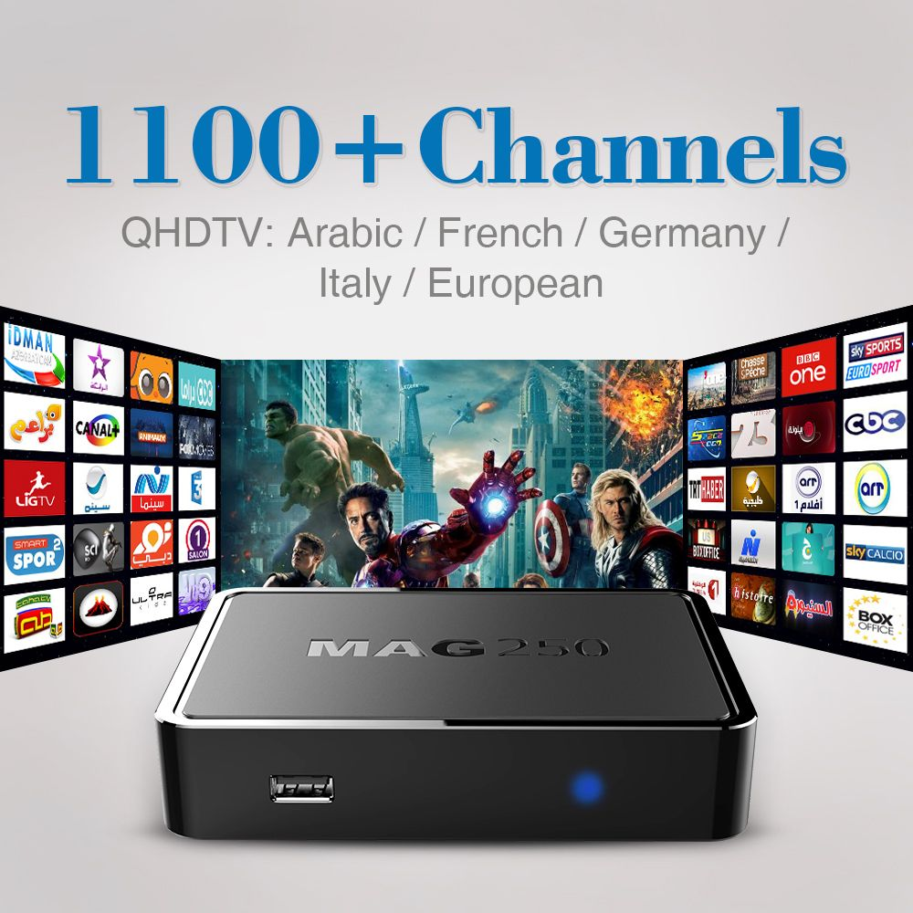 Top Quality Iptv Box Mag 250 With 1100 Live Tv Channels Arabic French Sky Italy Europe Iptv Box Free Shipping Smart Set Tv Channel