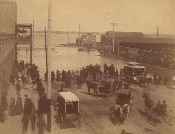 6. A shot of downtown Montgomery after the Alabama River flooded in 1886.
