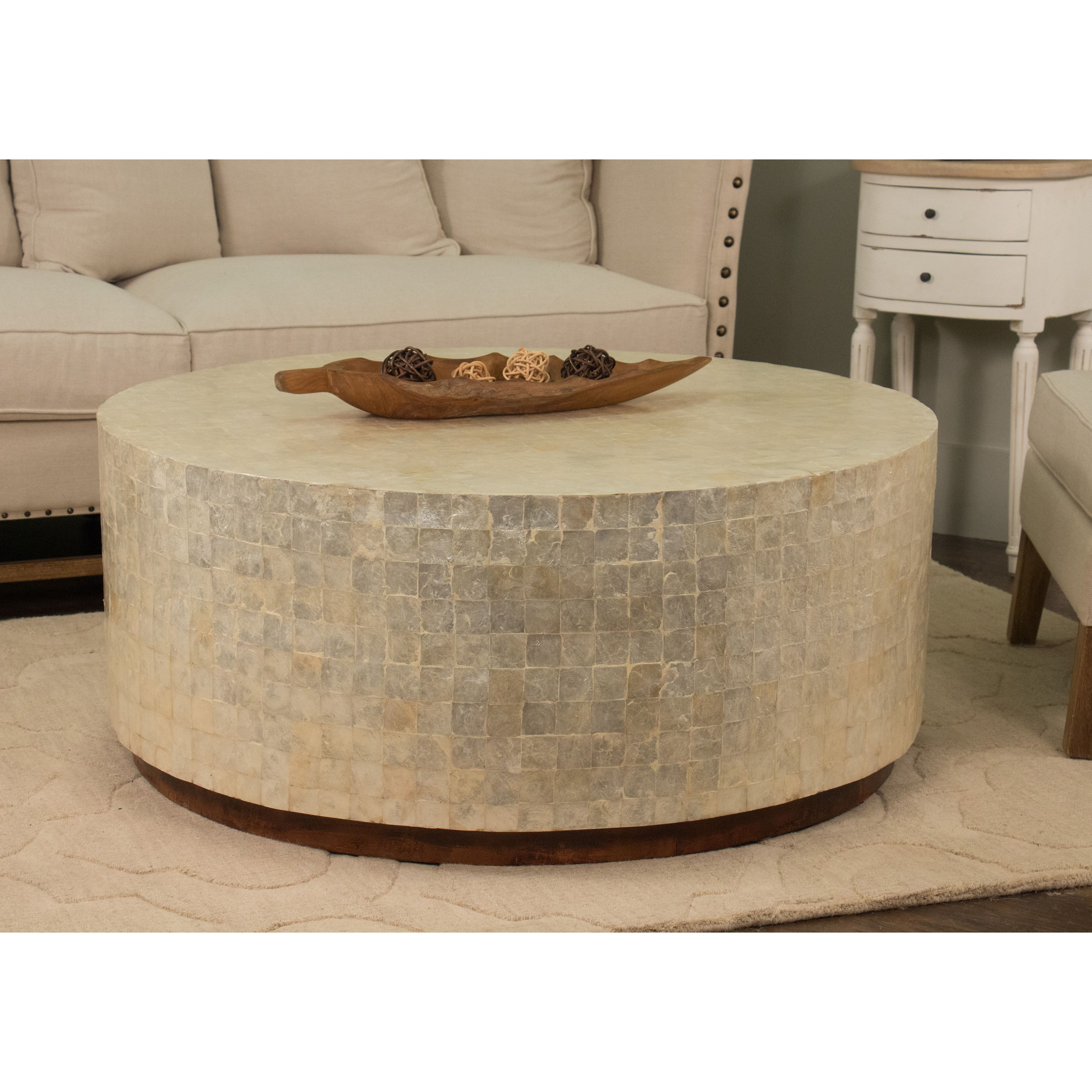Round White Capiz Coffee Table: This Elegant Round Coffee Table Features Beautiful White
