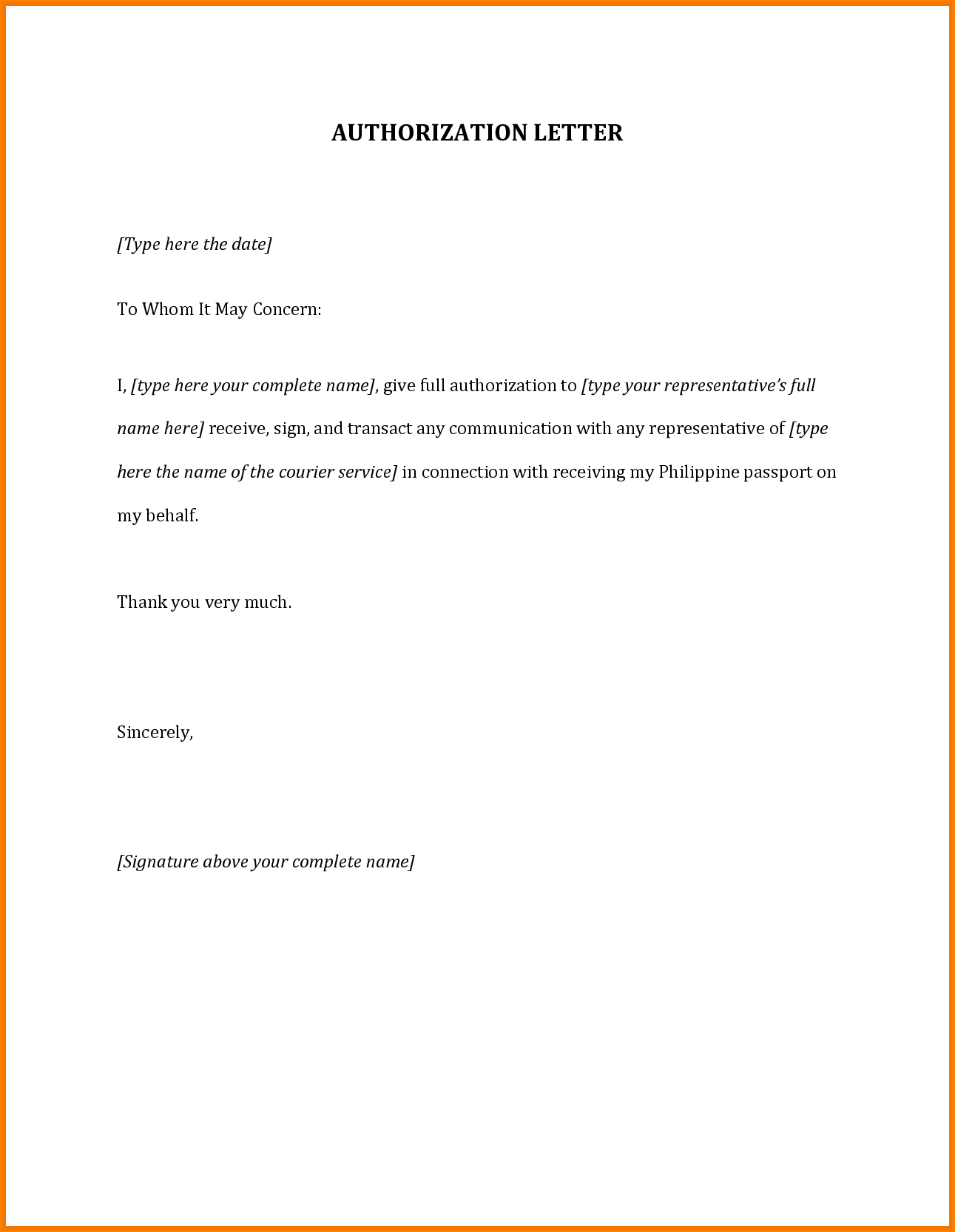 Authorization Letter For Passportmple Travel  Home Design Idea