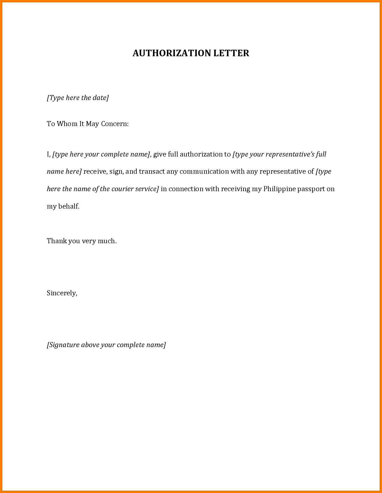 Authorization Letter For Passportmple Travel Home Design Idea