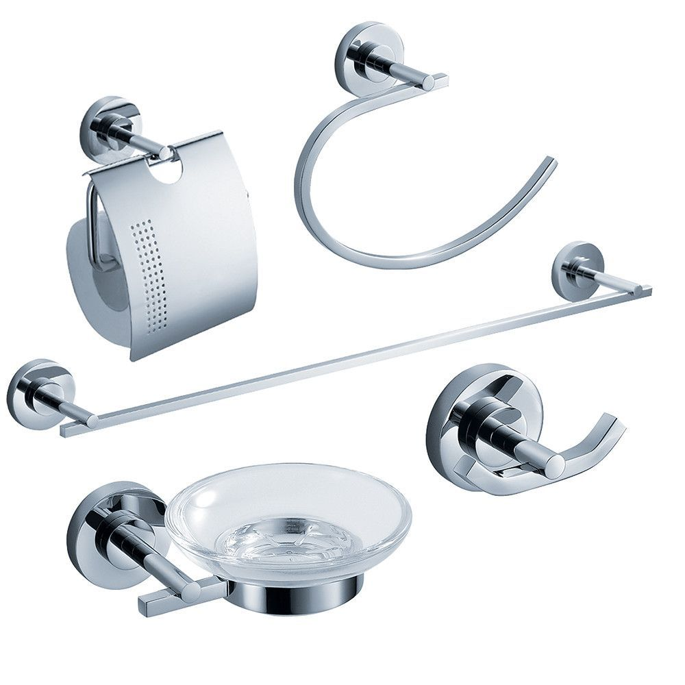 Fresca Alzato 5Piece Bathroom Accessory Set  Chrome  Bathroom Enchanting Chrome Bathroom Accessories 2018