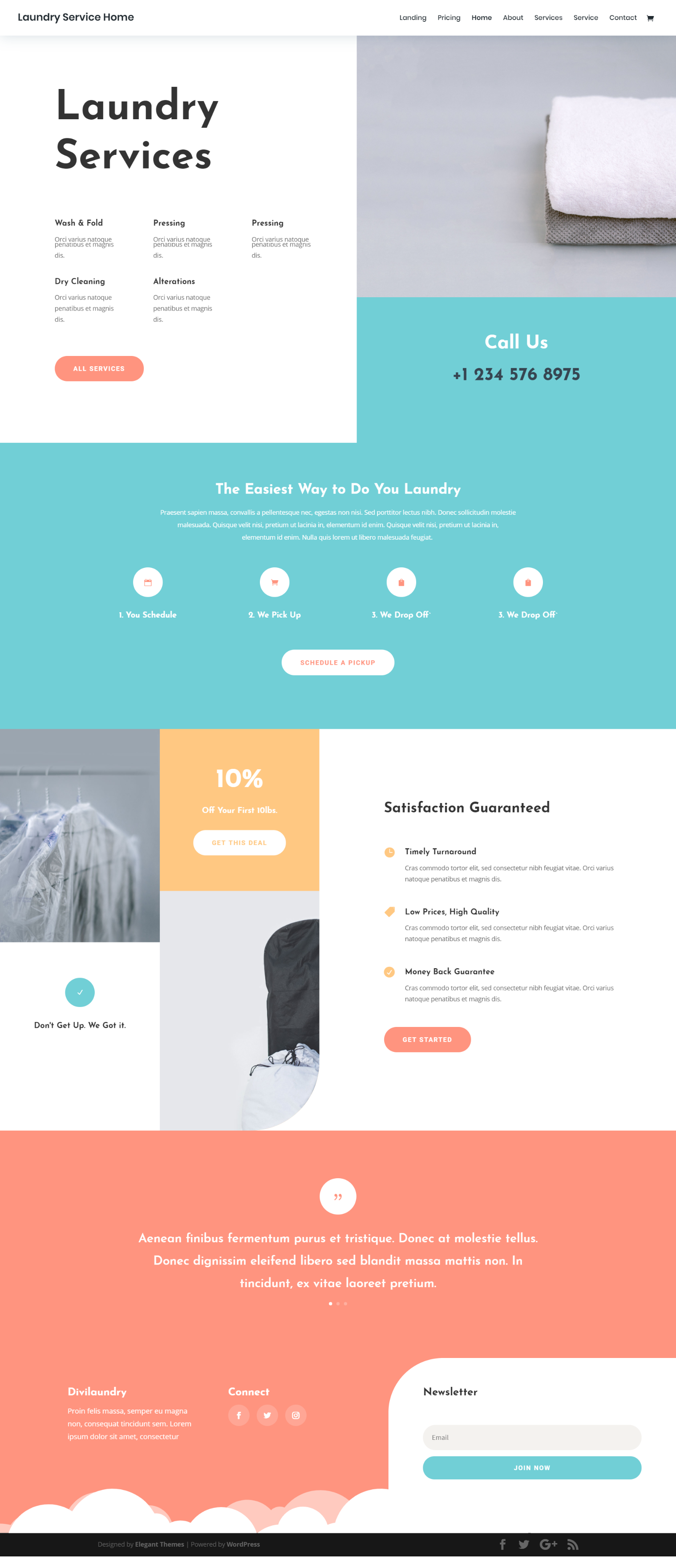 Laundry Service Landing Page Elegant Themes Web Layout Design Fun Website Design Web Design Inspiration