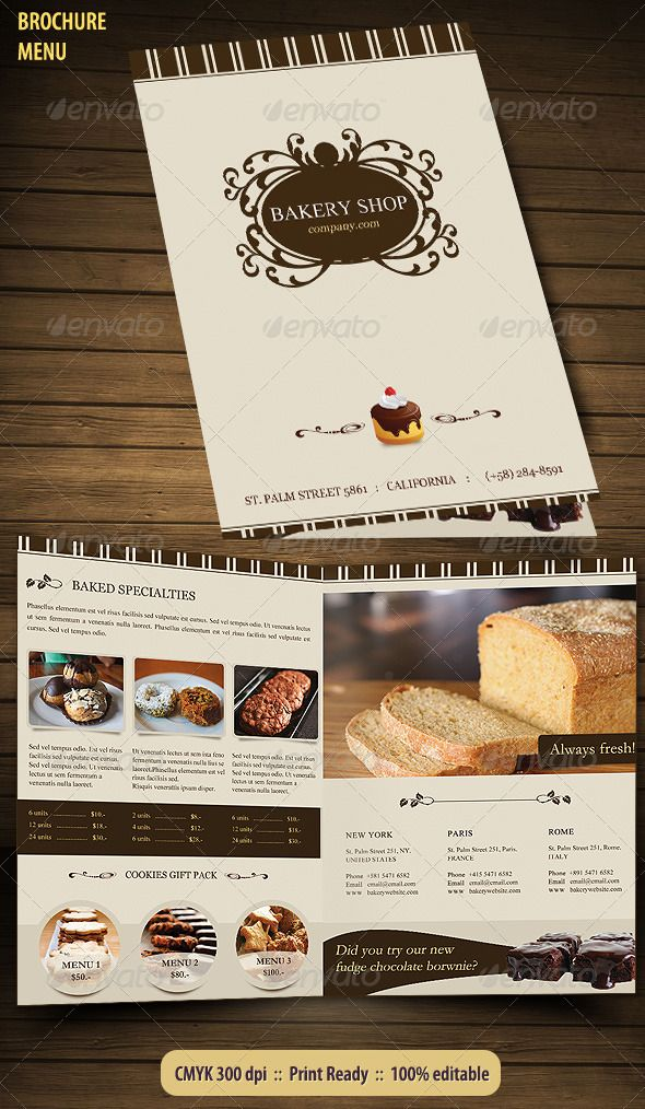 Bakery Menu Brochure Bakery menu, Brochures and Bakeries - coffee shop brochure template
