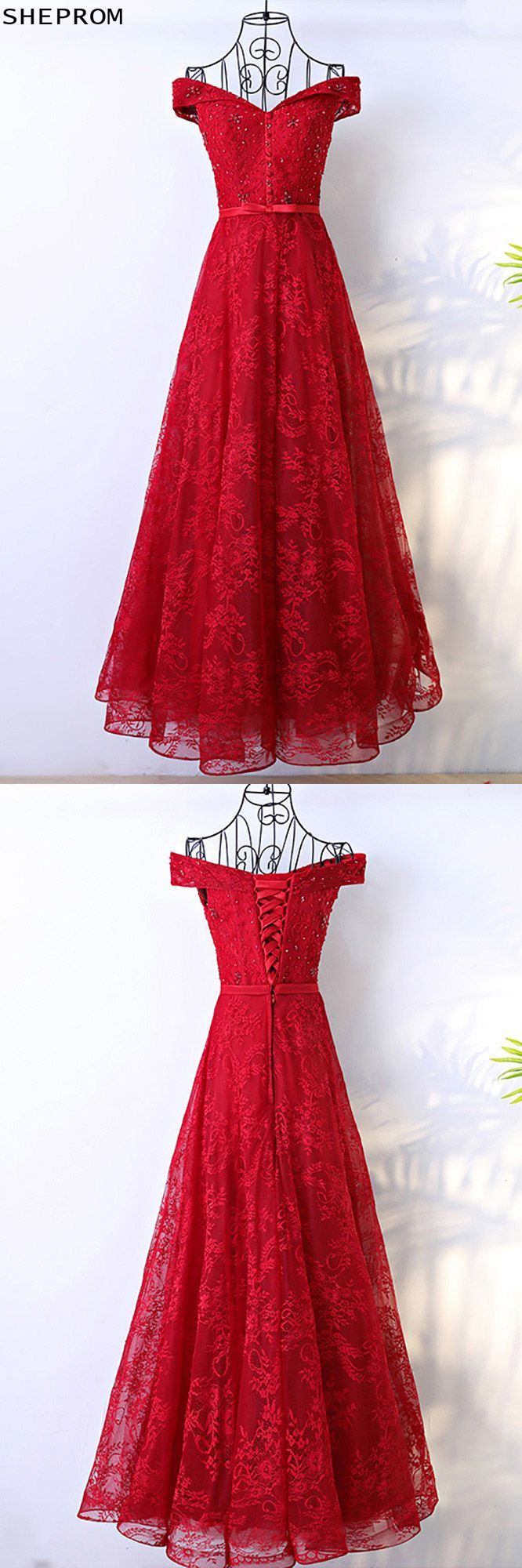 Red long lace formal party dress with off shoulder myx