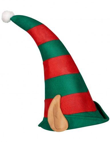 Cappello folletto di Babbo Natale con orecchie  grazie a questo simpatico  berretto con orecchie integrate il tuo costume da elfo di Natale sarà  perfetto! 036859b96895