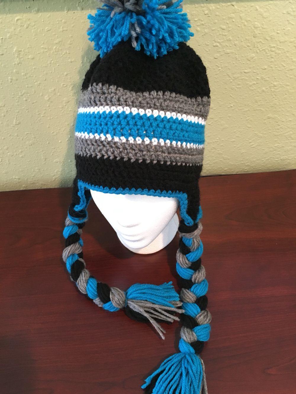 Crochet Carolina Panthers hat made by me  5d4b79540