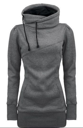 Long Slim Hooded Solid Color High Collar Hoodie | High neck