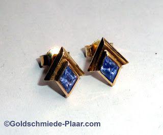Goldschmiede Plaar in Osnabrück: Ohrstecker aus 585/- Gelbgold mit Tansanit - earrings 14ct with tanzanite