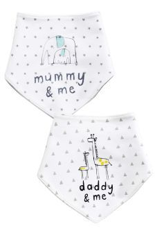 Next White Mummy, Daddy And Me Dribble Bibs Two Pack £5