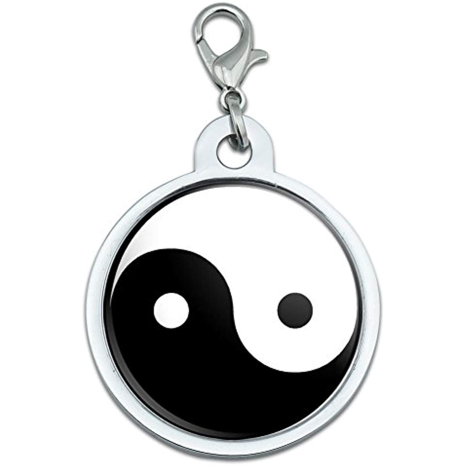 Yin Yang Chinese Symbol Large Chrome Plated Metal Pet Dog Cat Id