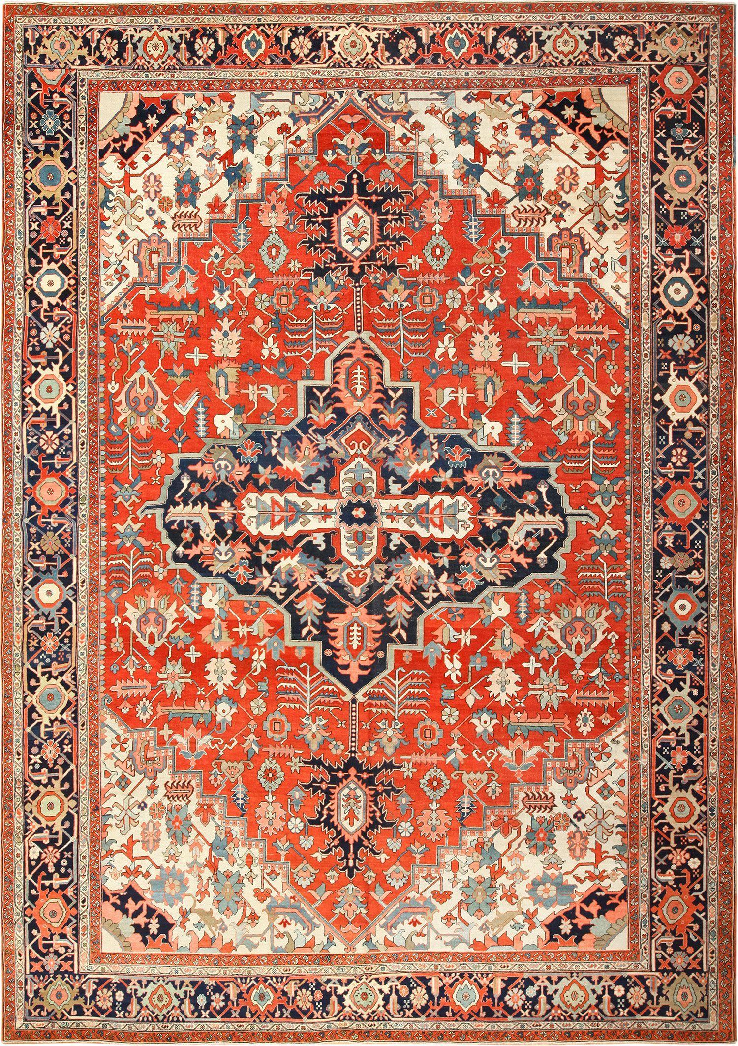 Antique Persian Heriz Serapi Rug 49397