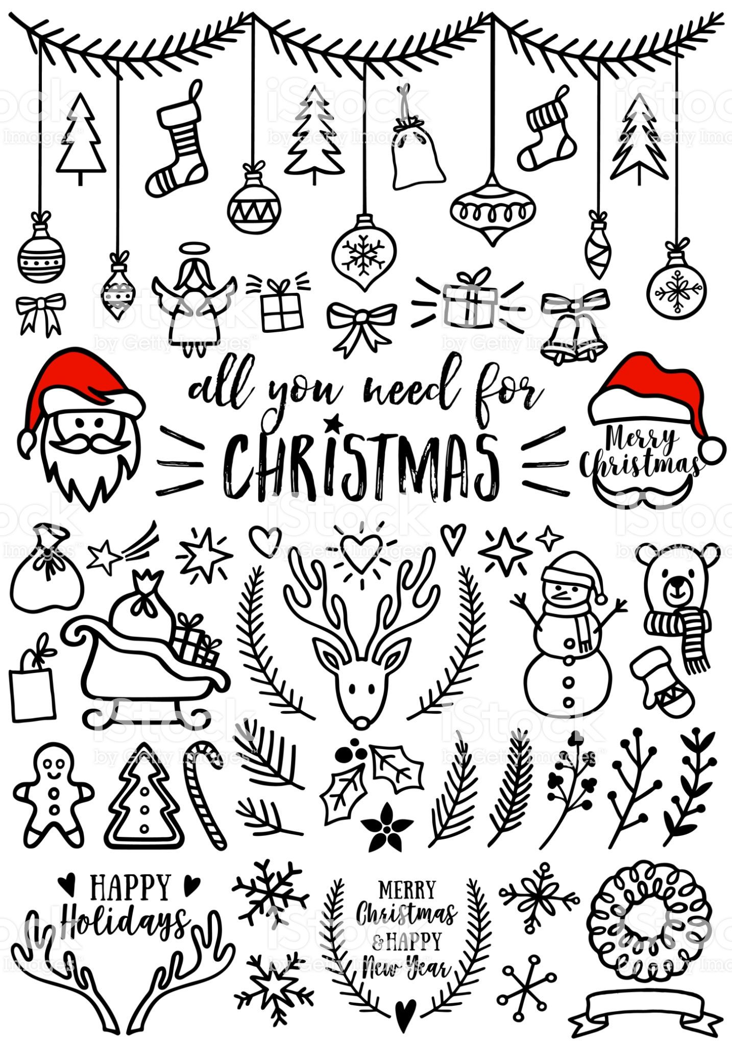 Hand Drawn Christmas Doodles For Cards Banners Set Of