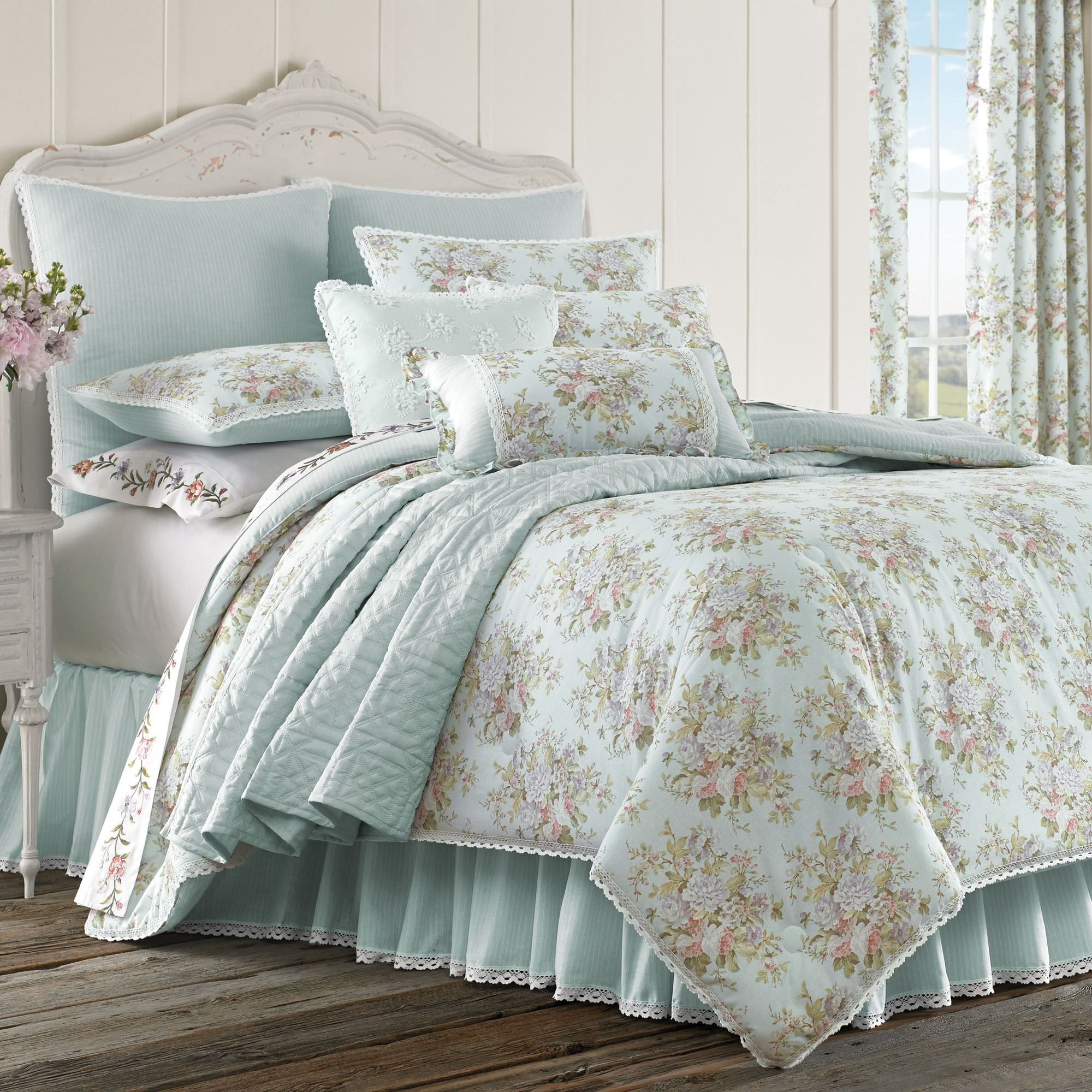 aj comforter by for curtains the ruffle waverly inches toile bedspreads black w moss set curtain country dust queen french home pin
