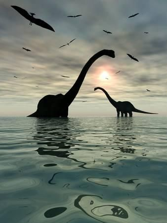 Diplodocus Dinosaurs Bathe in a Large Body of Water Photographic Print - Stocktrek Images | AllPosters.com