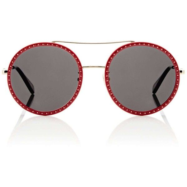 b9ebe7bdac1f Gucci Women's GG0061S Sunglasses ($455) ❤ liked on Polyvore featuring  accessories, eyewear, sunglasses, red, black lens sunglasses, clear round  glasses, ...