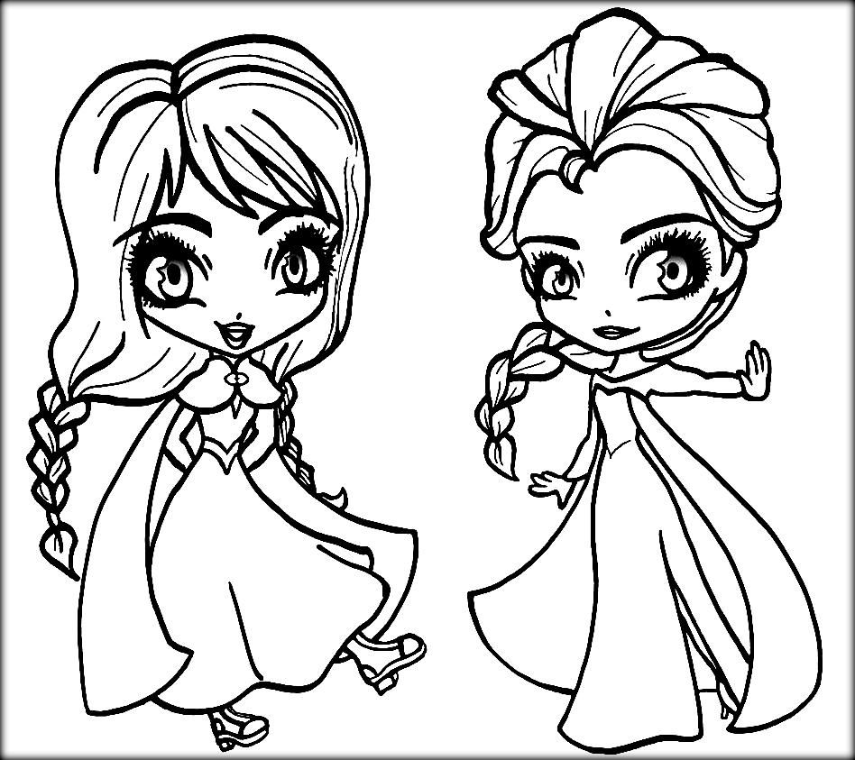 Frozen Elsa And Anna As Kids Coloring Pages Elsa Coloring Pages Chibi Coloring Pages Princess Coloring Pages