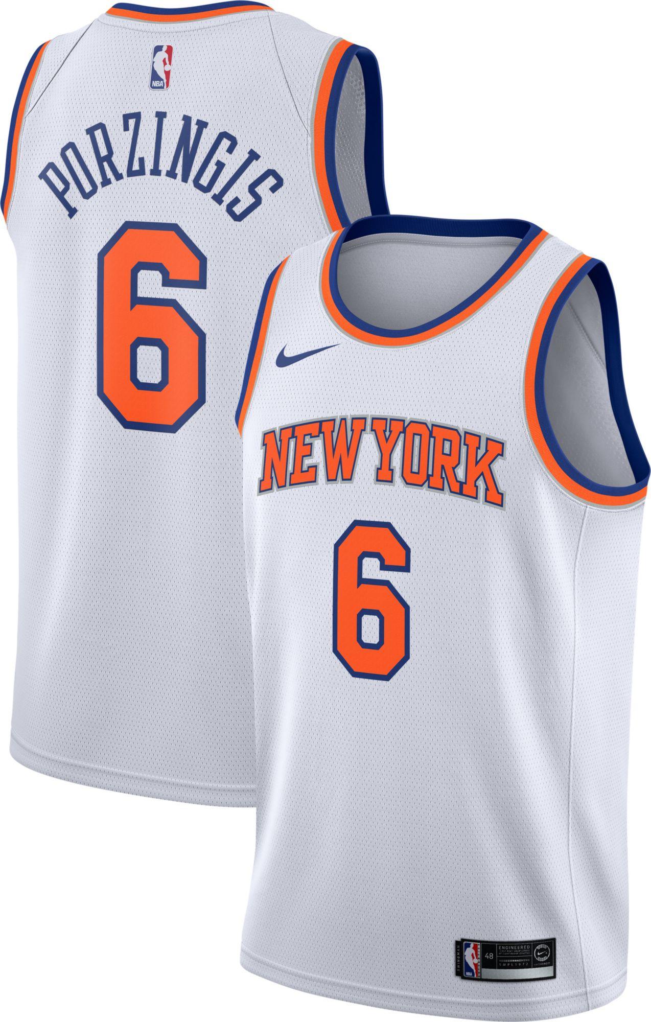 666c7f54806 Nike Men s New York Knicks Kristaps Porzingis  6 White Dri-FIT Swingman  Jersey