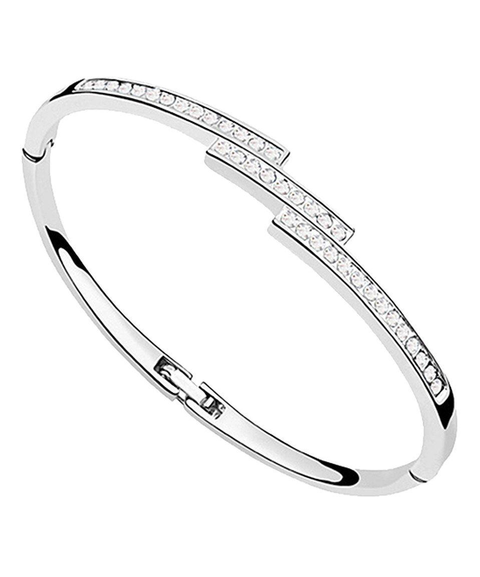hinged wedding ring Swarovski Crystal Sterling Silver Hinge Bangle by callura