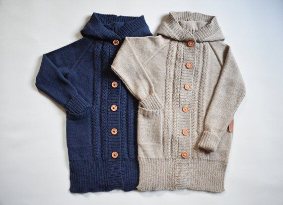 2b281a0d1187 WOOL ALPACA knitted long sweater for kid warm winter cardigan with ...
