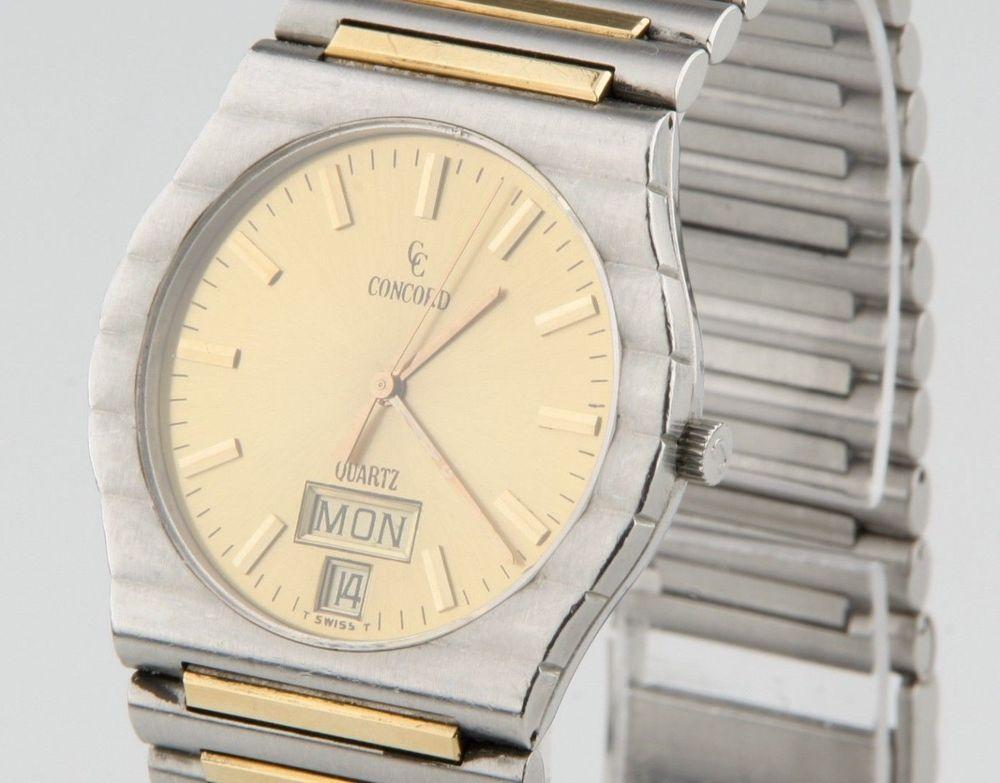 Concord Centurion 2-Tone Men's Watch Quartz Champagne Dial 18k Gold/SS Day/Date #Concord #Dress