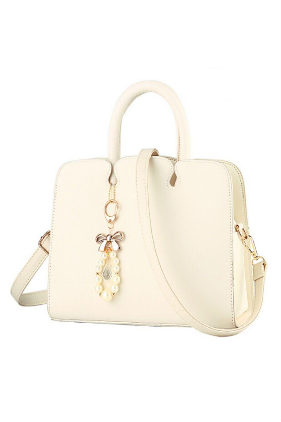Elegant Cream Leather Tote Bag  488ba7b2ccff6