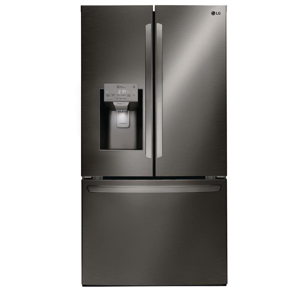 Lg Electronics 26 2 Cu Ft French Door Smart Refrigerator With Wi Fi Enabled In Black Stainless Steel Printproof Black Stainless Steel French Door Refrigerator French Doors Black Stainless Steel