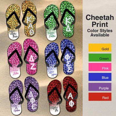 9003ec76e409 Sorority Cheetah Print Flip Flops  Greek  Sorority  Clothing  Beach   FlipFlops