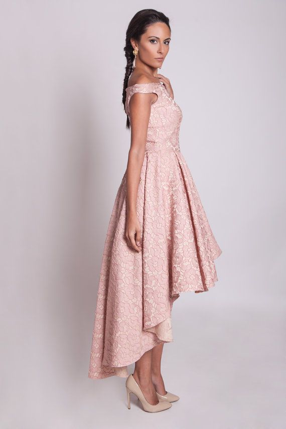 High low prom dress, off shoulder bridesmaid dress, 50s style pink ...