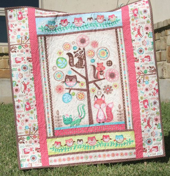 last one baby quilt, friendly forest animals, reversible, girl