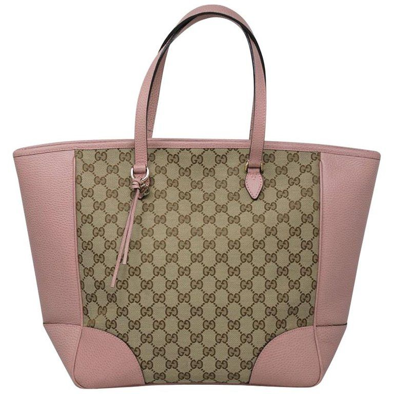 2f6901c4b Authentic Gucci Monogram and Pink Leather Large Tote Bag in Dust Bag