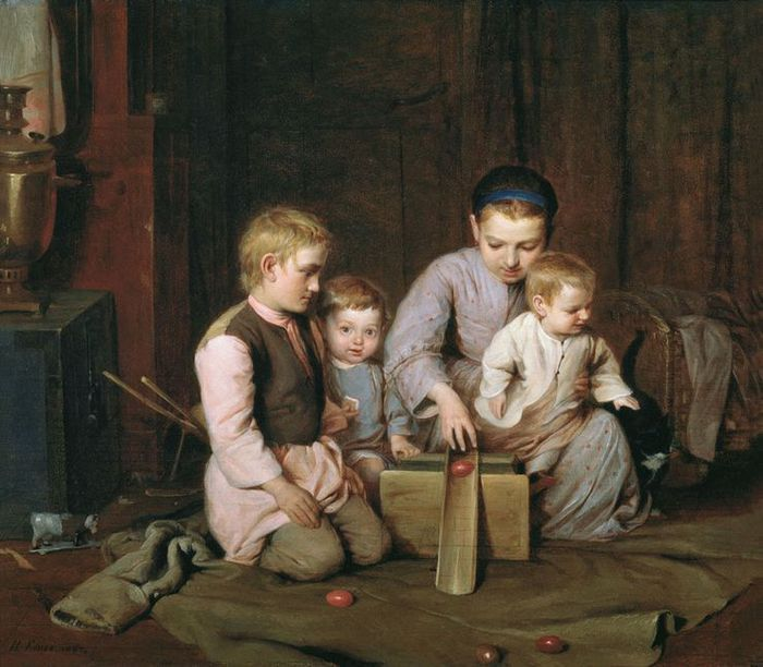 NA Koshelev. Children roll Easter eggs. 1855 Oil on canvas. The State Russian Museum, St. Petersburg