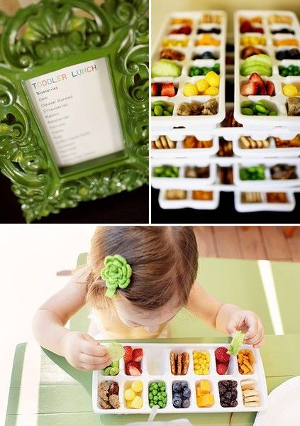 Colorful toddler lunch buffet: Fill ice cube tray with healthy finger foods (blueberries, corn, cheddar bunnies, strawberries, raisins, raspberries, pretzels, grapes, peas, cubed cheese, etc.) and let toddlers choose what they like.