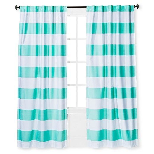 Silky Soft Polyester Cotton Blended Construction Br Twill Weave Br Thick Horizontal Stripes Br Vibrant Color Light Blocking Curtains Panel Curtains Aqua Curtains