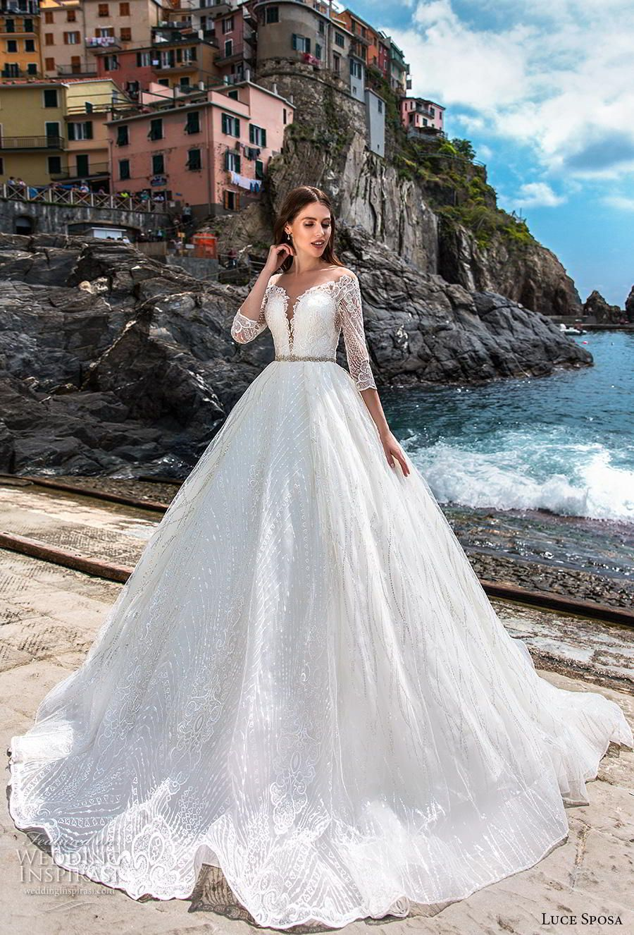8445e857c9 luce sposa 2019 bridal three quarter sleeves deep plunging sweetheart  neckline full embellishment romantic a line wedding dress lace back chapel  train (10) ...