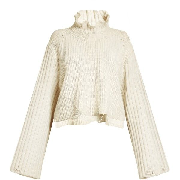 92cc61734ace7b Golden Goose Deluxe Brand Malia fluted-collar ribbed-knit sweater ($450) ❤
