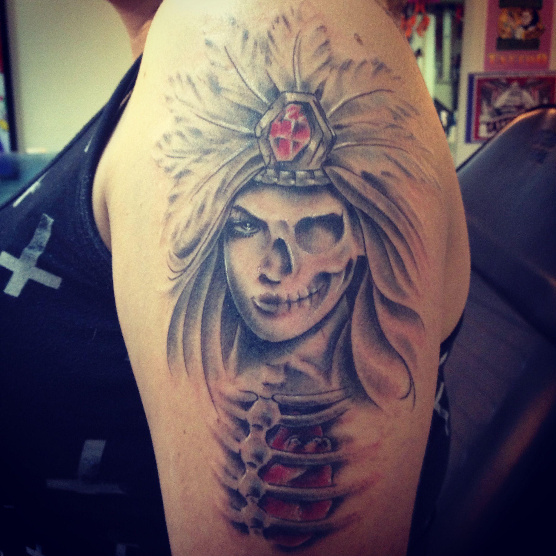 Aztec warrior princess tattoo no matter what my skeletons for Aztec tattoo shop phoenix az